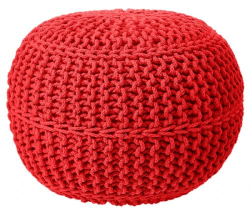 100% COTTON ROUND FOOT STOOL BRAIDED HANDMADE CUSHION DOUBLE KNITTED POUFFE RED SCARLETT COLOUR